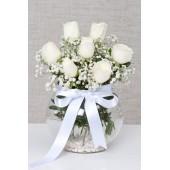 Fanus İçerisinde Beyaz Güller