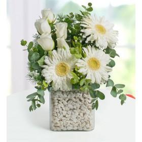 Vazoda beyaz Gerbera ve Beyaz Güller